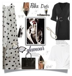 """Polka Dots"" by eula-eldridge-tolliver ❤ liked on Polyvore featuring Oscar de la Renta, Topshop, T By Alexander Wang, Yves Saint Laurent, Mikimoto, Christian Louboutin and Lancôme"