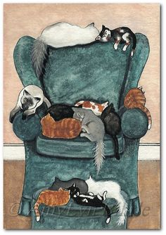 Favorite Chair Covered in Cats  Fine Art Prints or by AmyLynBihrle.