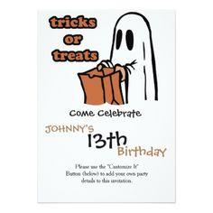 Trick or treat - Boo - cartoon ghost - baby ghost Card - Halloween happyhalloween festival party holiday