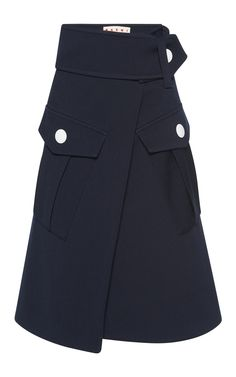 A structured wrap skirt by **Marni** features two oversized cargo pockets finished by a large belt. True to Marni's aesthetic, this design offers a bold elegance in heavyweight wool apt for winter layering.