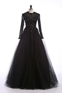 $179.99 Black Evening Dresses A Line Illusion Neck Sheer Back Floor Length Lace Applique Beading Sequins