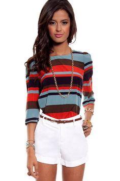 Bold Stripe Shirt in Blue Multi :: tobi