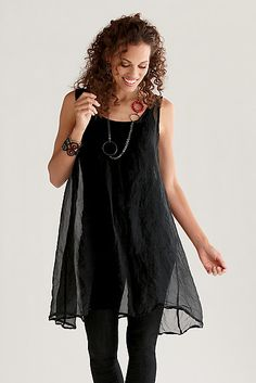 Organza Cami Tunic: Amy Brill: Organza Tunic - Artful Home  silk above knee usa  198.