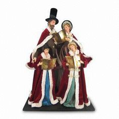 21.5-inch Tall Christmas Family Choir Figurines, All on One Base, Available in Beige or Burgundy