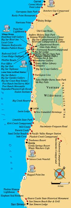 Sur Map - Things to do in Big Sur area of California and creating an itinerary up and down the western coast - coastal day trips - girlfriend weekend trip ideas - romantic getaway locations - bang for your buck on a budget near the ocean Big Sur California, California Dreamin', Northern California, San Simeon California, Danville California, Cambria California, California Attractions, Central California, West Coast Road Trip