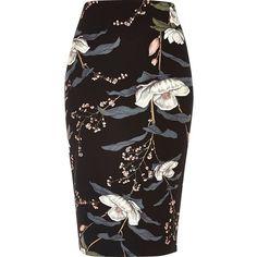 River Island Black floral print long length pencil skirt (155 RON) ❤ liked on Polyvore featuring skirts, black, bottoms, pencil skirt, midi skirts, women, floral skirts, floral printed skirt, long skirts and knee length pencil skirt