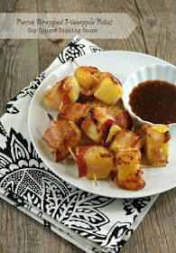 Authentic Suburban Gourmet: Bacon Wrapped Pineapple Bites with Soy Ginger Dipping Sauce | Friday Night Bites
