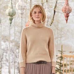 Our soft, cowl-neck 'Elsa' sweater with contrast knit stitch at sleeves. Sizes XS to S to M to L to XL to Approx. Brown Boots, Cowl Neck, Elsa, My Style, Hippie Style, Handsome, Turtle Neck, Wool, Knitting