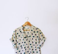 Navy and Green Vintage Abstract Blouse by thehappyforest