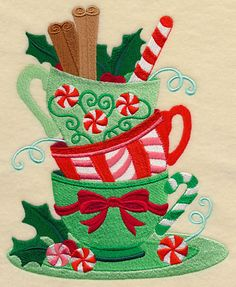 Christmas Teatime Teacup Stack