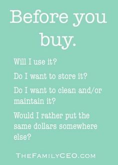 Questions to ask yourself before hitting the shops