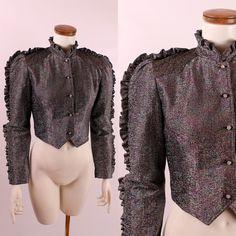 Vintage 70s 80s  Black Silver Rainbow Metallic by starlingdarlin