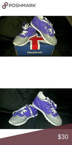 Women's Reebok Classic Leather Sneakers This classic sneaker looks just like new and has original box. Brand: Reebok  Product Color: Carbon Grey/Team Purple/White  Product Fit: 7.5 (women's) Condition: Used - Like New (Normal Wear) Reebok Shoes Sneakers