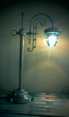 Curbed Brass Lamp repurposed with Old glass Insulators by Antxques, $99.00