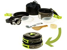 Camping Cookware Mess Kit w/LED Headlamp for Backpacking, Hiking, Survival Bug-out Bag - 11 Piece Cookware w/Pot, Pan & Utensils for 1 or 2 persons - Lightweight, Compact & Durable. For product info go to:  https://all4hiking.com/products/camping-cookware-mess-kit-wled-headlamp-for-backpacking-hiking-survival-bug-out-bag-11-piece-cookware-wpot-pan-utensils-for-1-or-2-persons-lightweight-compact-durable/