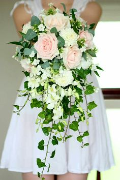 Beautiful Cascading Wedding Bouquet: Blush Pink Roses, White Dahlias, White Dendrobium Orchids, White Florals & Lovely Green English Ivy
