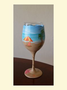 Beach themed wine glass A Day at The Beach by TheGiftofArtbyNikki