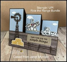 Stampin' UP! Ride The Range Bundle Side Step Fun Fold Video Tutorial   Cindy Lee Bee Designs 21 Cards, Step Cards, Kids Cards, Bee Design, Life Organization, Masculine Cards, Stampin Up Cards, Birthday Cards, Paper Crafts