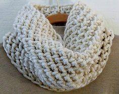 Crochet Cowl PATTERN Chunky Herringbone Cowl DIY Circle Scarf Infinity