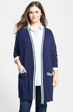 Sejour Tipped Long Cardigan (Plus Size) available at #Nordstrom