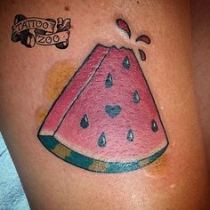Watermelon tattoo with heart pip