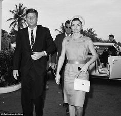 Mr Kennedy (pictured with Jackie in 1961) kept a close eye on his wife, Jackie, when she w...