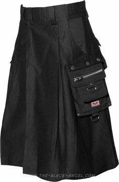 Gothic kilt for men, by Queen of Darkness Clothing, with cargo style pockets.