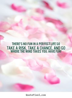 There's no fun in a perfect life So make a risk Take a chance Go where the wind takes you Have fun #quote #saying #saythatagain