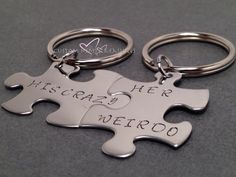 His Crazy Her Weirdo, Couples Keychains, Puzzle Piece Keychains, Couples Keychains, Couples Gift, Boyfriend Girlfriend Gift, For him by customhemptreasures on Etsy https://www.etsy.com/listing/179057762/his-crazy-her-weirdo-couples-keychains