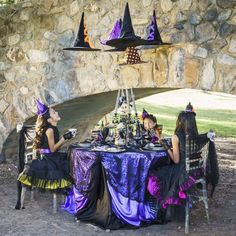 The table settings at this Witch Tea party are amazing!! So stylish! See more party ideas and share yours at CatchMyParty.com #halloween #tablesettings