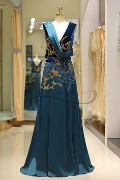 Navy Green Sleeveless Sequins Long Prom Dress with Belt f23588662