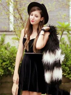 Simple Cheap Chic,Dress With Chic,Express Your Style,Make every day different,Shop Black Velvet Sleeveless Dress With Mesh Plane online