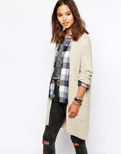distressed jeans, checkered shirt, long knit