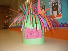 What a cute 100th day of school idea and activity! Have students make a 100th day hat! They could have 100 strips falling down from the top. Let them do tally marks to represent all 100. How cool!
