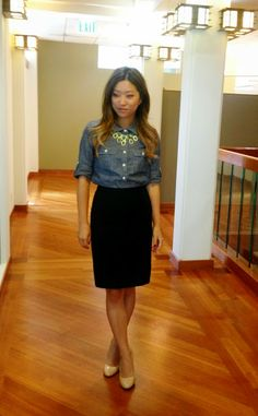 30 for 30 day 17: chambray, pencil skirt, statement necklace