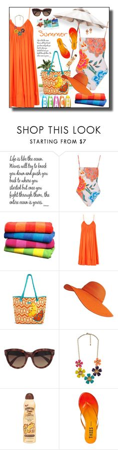 """""""Beach Bag"""" by daiscat ❤ liked on Polyvore featuring WALL, Mara Hoffman, STELLA McCARTNEY, Vera Bradley, CÉLINE, Forever 21, Hawaiian Tropic, Tkees and Miguel Ases"""