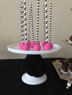 Black white and fuchsia theme candy bar Birthday Candy, Buffet, Black White, Bar, Desserts, Food, Meal, Buffets, Black And White