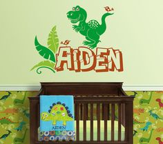 Dinosaur Themed Personalized Name Custom Initial Vinyl Wall Decal - Custom vinyl wall decals dinosaur