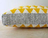 Tri Yellow 40cm x 40cm box cushion - Hand screen printed