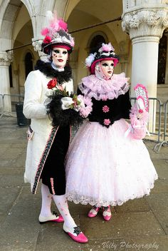 A couple in pink, black and white ~ Venice Carnival 2015 | Flickr - Photo Sharing!