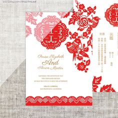 DIY Printable Chinese Wedding Celebration Invitation Card
