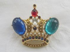 #Queenforaday Vintage Crown Brooch Jeweled Mothers Day by VintageVogueTreasure