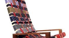 Reciclar corbatas viejas: sillón reciclado con las corbatas de papá. Ideas para reutilizar las corbatas que ya papá se ha cansado de seguir usándolas.