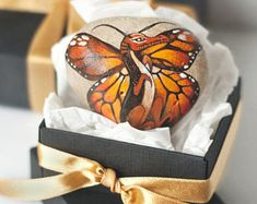 Stone with a hand painted tiny orange dragon with butterfly wings,friendship gift,dragon gift,mothers day gift,engagment gift