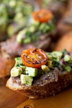 Grilled Steak and Avocado-Lime Salsa Crostini with Grilled Cherry Tomatoes