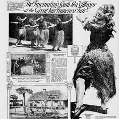 """Hawaiian women danced in grass skirts before attendees in the Panama-Pacific Expo in San Francisco in 1915. With their """"dusky beauty and grace,"""" the dancers introduced Hawaii as the land of hula. Read more about it in The Fascinating South Sea Villages at the Great San Francisco Fair. Richmond times-dispatch, June 6, 1915, Image 47 http://chroniclingamerica.loc.gov/lccn/sn83045389/1915-06-06/ed-1/seq-47/ Hawaii Digital Newspaper Project https://hdnpblog.wordpress.com/"""