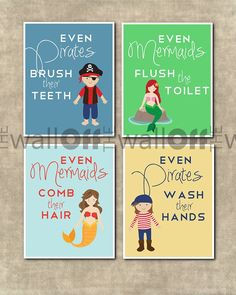 Mermaid & Pirate Bathroom Set - Set of 4 - Even Mermaids Wash Hands, Even Pirates Brsh Teeth, Flush Toilet, Comb Hair, Brush Teeth Pirate Bathroom, Childrens Bathroom, Mermaid Bathroom, Bathroom Kids, Kids Bath, Shared Bathroom, Jack And Jill Bathroom, Beach Bathrooms, Bathroom Inspiration