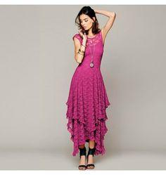 Boho Maxi Sommerkleid in Pink