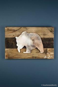 Bear Reclaimed Wood & Shaped Metal Art $85