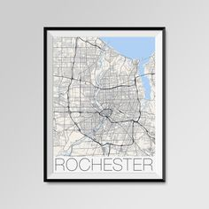 Rochester map, New York, Rochester print, Rochester poster, Rochester map art, Rochester city maps, Rochester Minimal Wall Art, Rochester Office Home Décor, black and white custom maps, personalized maps